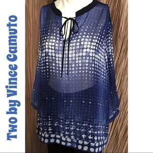 Two by Vince Camuto Sheer Blouse Size 2X (18 - 20)